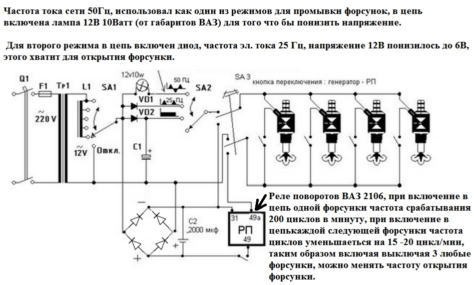 схема очистка форсунок инжектора